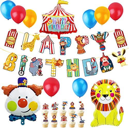 JeVenis 37 PCS cirque anniversaire ballons cirque anniversaire bannière cirque anniversaire décor carnaval décorations de fête clown décorations