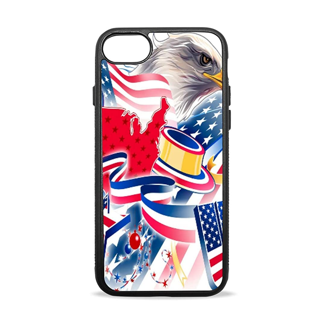 Apple Case Shockproof Slim TPU Protective Cover United States of America Soft Rubber Silicone Cover Phone Case Compatible with iPhone 7/8 iPhone 7/8 Plus [4.7 inch/5.5 inch]