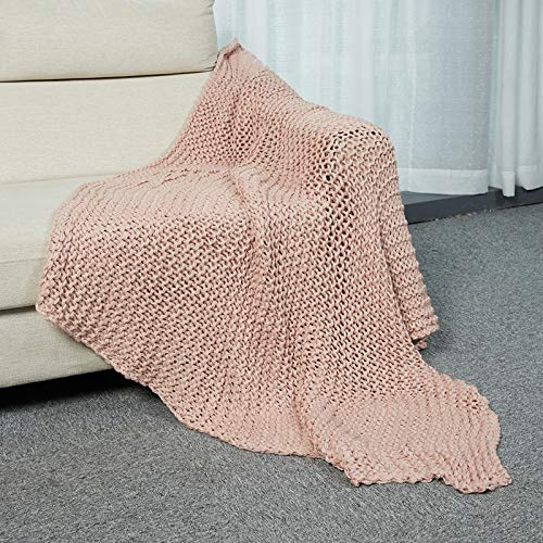INSHERE Nordic Boho Pink Solid Color Woven Knit Throw Blanket Soft Cozy Warm Lightweight Home Decor for Couch Bed Chair Sofa Living Room 50''x61'