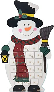 18.5 Inch Christmas Wooden Snowman Advent Calendar with Hand Painted Figurines and 24 Drawers to Fill Candy or Small Gifts
