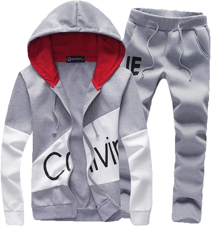 Domple Mens Print Hoodie Jacket Two Pieces Jogger Pant Sweatsuit Tracksuit