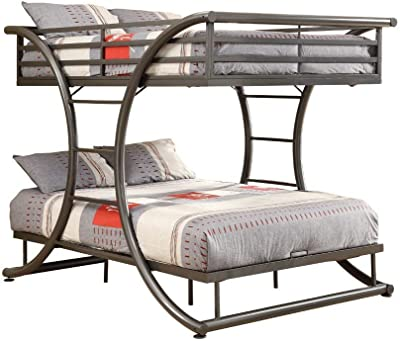 Benjara Metal Full Bunk Bed with Arched Framework and Ladders, Gray