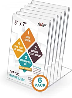 NIUBEE 6Pack Slant Back Acrylic Sign Holder 5x7 inches, Clear Vertical Picture Frames Lucite Frames, Desktop Flyer Holder Document Holder Paper Display Stand