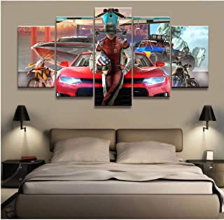HNFSSK Canvas Painting 5 Panel The Crew 2 Game Canvas Printed Painting for Living Room Wall Art Home Decor Picture Artworks Poster-SIZE3