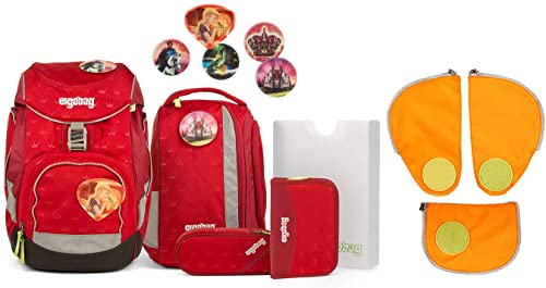 Ergobag Pack Küss den B Schulrucksack Set 7tlg. - inkl. Seitentaschen (Orange)