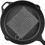 Cast Iron Cleaner 8'x6' Stainless Steel 316L Chainmail Scrubber for Cast Iron Pan Pre-Seasoned Pan...