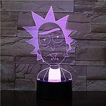 KLJLFJK 3D Night Light Color Changing Room 3D Desk Lamp Rick et Morty Led Night Light for Kid Bedroom Decoration for Baby Child Nightlight