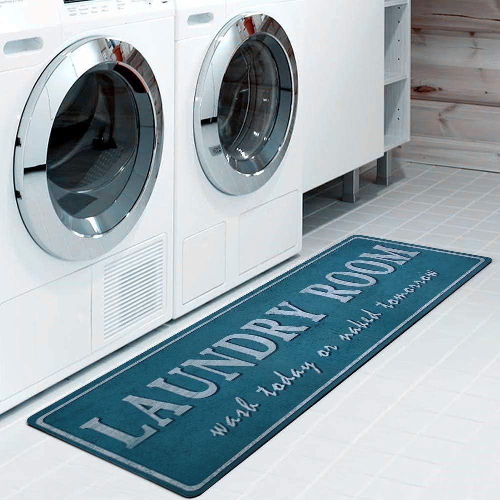 [Alternative dealer] Farmhouse Rug Laundry Room Mat Aqua So Blue Max 64% OFF Decor