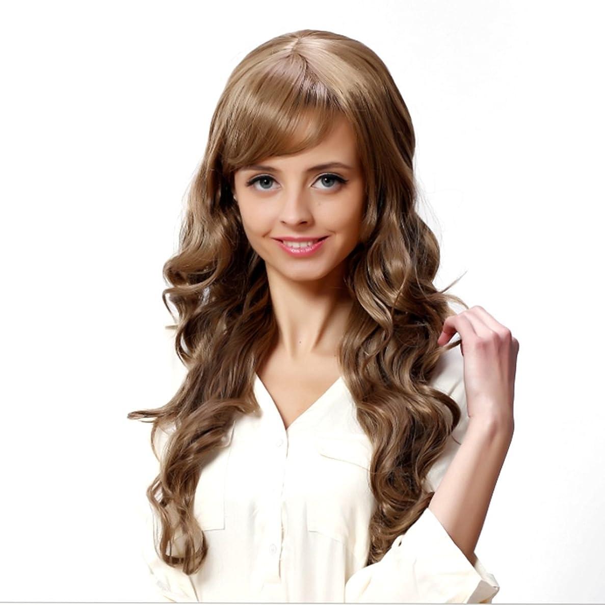 JIANFU 女性のための現実的な大きな波状の長い縮毛のかつらフルサイズの頭のカーリーヘアフラフリな梨のフラワーウィッグ修正された顔の長さ21inch / 22inch(ブラウンブラック/ベージュ)のための斜めバンズウィッグ (Color : ブラウン)