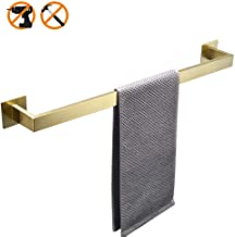 WOLIBEER Adhesive Single Towel Bar Without Drilling Modern Brushed Gold Finished Surface in Bathroom Towel Holder, L23.6inch