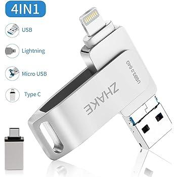 Memoria USB 64GB 4 in 1 Chiavetta USB Flash Drive per iPhone iPad e PC Laptop, USB 3.0 Pen Drive per Dispositivi con Apple/iOS/Android/USB C/Micro USB/Tipo C Porta Argento