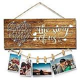 Walant Planken - Placa de pared rústica con clip de foto, diseño de casa de campo, decoración de pared para salón, dormitorio, entrada, cocina, 34 x 14 cm