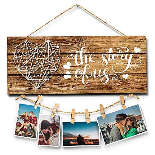 Ewolee Clips para colgar fotos, decoración de pared, marco de fotos con pinzas, para regalo de pareja recién prometida, San Valentín