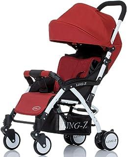 MuMa Cochecito Bebé Carro Muy Ligero Portátil Doblez Puede Sentarse Acostado Cochecito De Bebé Pequeño Bebe Suspensión Niño Carretilla (Color : Rojo)