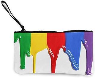 Unisex Rainbow_Color_Flow_Drops Monedero de Lona con Cremallera Monedero, Bolso de Maquillaje, Bolso para teléfono móvil con asa