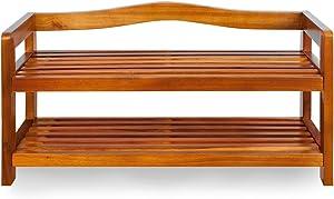 Deuba Scarpiera in legno di acacia | legno massello | 2 robusti ripiani | 42x74x26cm | porta scarpe | scaffale | colore: marrone