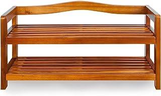 Zapatero elegante de madera dura de acacia de estilo colonial - 2 baldas  - Acabado de gran calidad -  Medidas: (ancho x f...