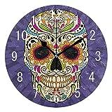 Butty Mexican Sugar Skull Dia De Los Muertos Reloj de Pared de acrílico Redondo Retro Reloj silencioso sin Tic Arte para Sala de Estar Cocina Dormitorio