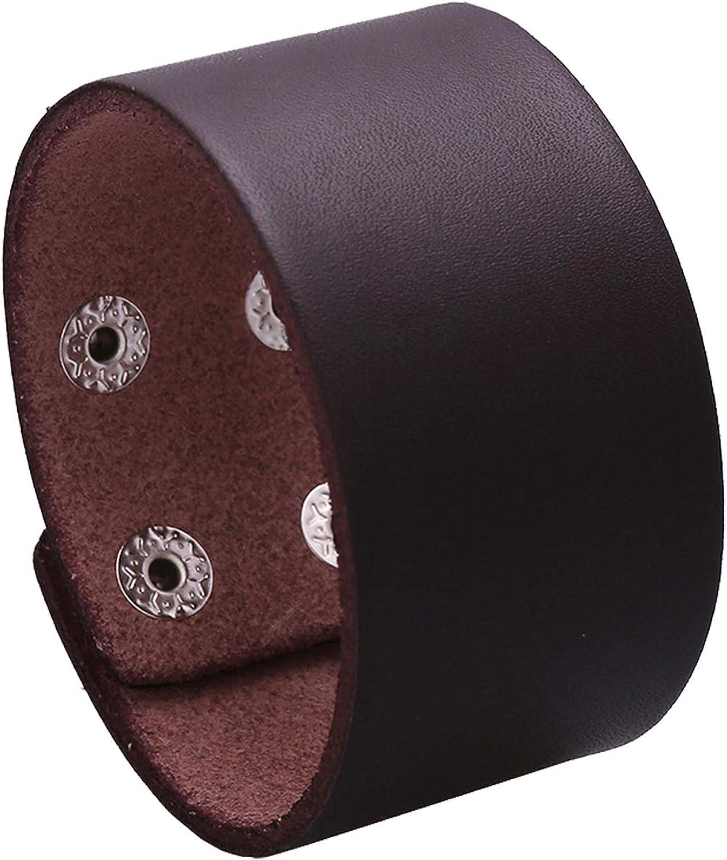 Mgutillart Punk Metal Buckle Wristband Wide Leather Cuff Bracelet