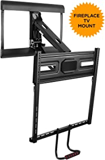 Mount-It! Pull Down TV Mount for Fireplace Mantel Installation, Height Adjustable Fire Place Mantel Mount, Down and Out Full Motion Design, Fits 43-70 Inch TVs, 77 lbs Capacity