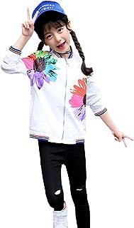 LPATTERN キッズ 女の子 長袖 アウター ブルゾン ジャンバー 野球服 ジャケット 花柄 オシャレ 春
