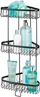 mDesign Metal 3-Tier Bathroom Corner Shower Shelf - Free Standing Vertical Unit Storage Shelves - for Organizing Soaps, Shampoos, Conditioner, Fash Face, Body Scrubs, Body Washes - Matte Black