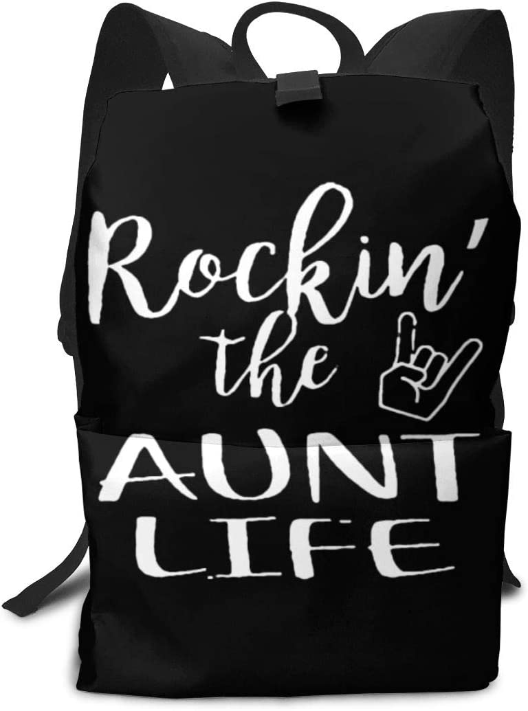 Rockin The Aunt Unisex Light and Durable Classic Travel School Backpack Fits 14 Inch Laptop