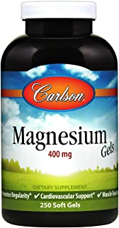 Carlson Liquid Magnesium 400 mg, Heart and Muscle Health, 250 Soft Gels