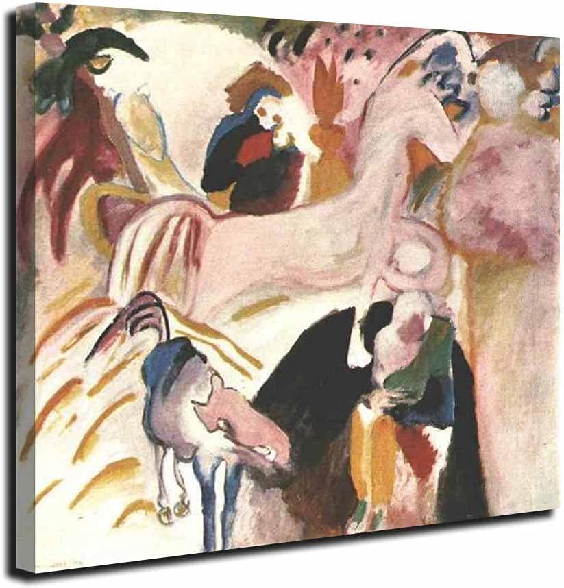 Caballos, Wassily Kandinsky Obra De Arte Geométrica Abstracta Lienzo Pinturas Carteles Impresiones Cuadro Lienzo Decoración Pared (50x55cm (19.7x21.6in), Enmarcado)