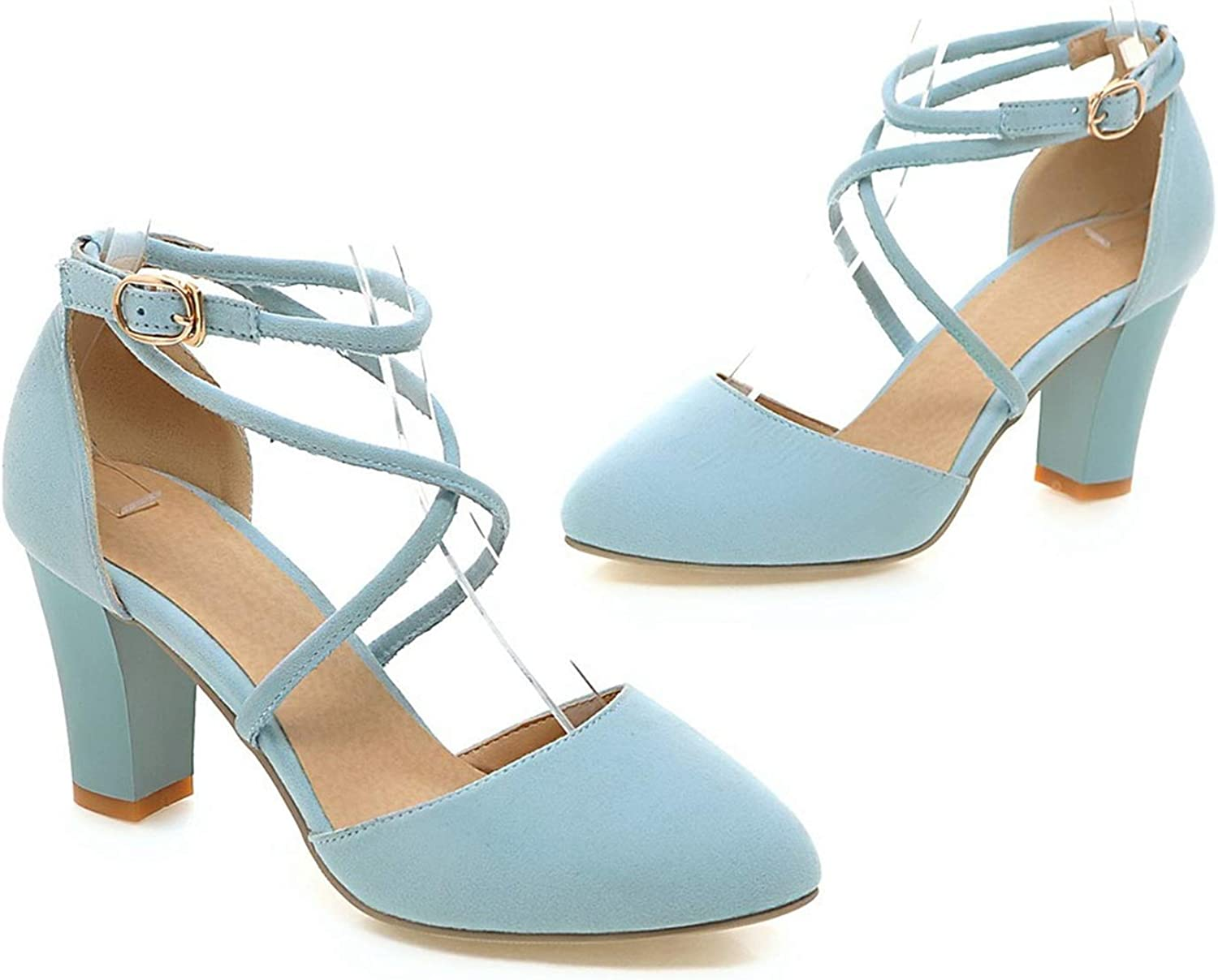 Sexy Ladies shoes high Heels Round Toe Square Heel with Buckle Grey Light bluee color Pumps shoes,Light bluee,5