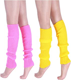 "CHUNG Women Juniors Knitted Leg Warmers 16"" Neon Party Dance Sports Fitness Accessory Pack of 1/2/3"