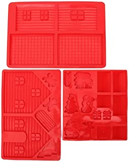 Gingerbread House Silicone Mold Kit - Includes 3 Molds to Create Gingerbread House, Snowman, Tree, Reindeer, Sleigh, Santa Claus, Present - 3 Piece Set - Red - 14 x 10 x 0.5 inches