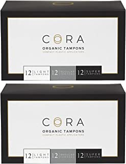 Cora Organic Cotton Tampons with BPA-Free Plastic Compact Applicator; Chlorine & Toxin Free - Variety Pack - Light/Regular/Super (72 Count)