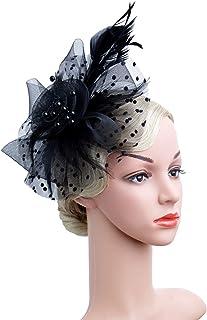 ffa3ef641478c Czioe Flower Cocktail Tea Party Headwear Feather Fascinators Top Hat for  Girls and Women