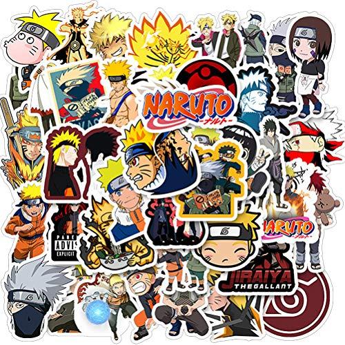 ZSWQ 200 Pegatinas de Naruto Adhesivos de Anime para niños para Ordenadores portátiles, Botellas de Agua, Fundas de Viaje, Pared, monopatín, Moto, teléfono, Bicicleta, Equipaje o Guitarra