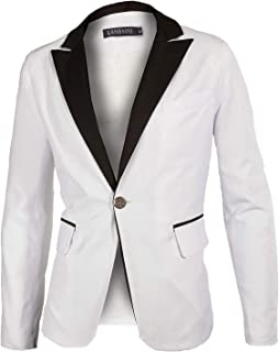 Men's Casual Slim Fit One Button Pop White Jacket