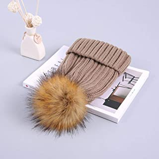 Knitted Hats for Women Winter Padded Hat Hair Ball Female Warm Hat Cute Knitted Wooly Hat