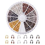 PandaHall Elite 540 Pcs 6 Colors Brass Wire Guardian Wire Cable Protector U Shape Wire Guard Loops for Earring Bracelet Jewelry Making