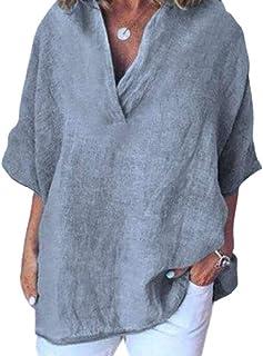 Frieed Womens Linen Plus Size V-Neck Loose Short Sleeve Tops T-shirt Blouse