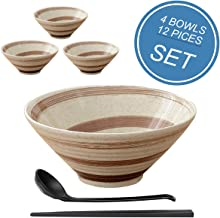 4set (12piece) Ceramic Japanese Ramen Bowl Set,Soup Bowls - 60 Ounce, with Matching Spoon and Chopsticks for Noodles, Rame...