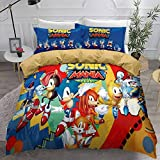 kxry Sonic Mania Plus Game Duvet Cover Set Japan Anime Cartoon Bedding Sets for Boys Teens 1 Duvet Cover + 1 Pillow Sham Twin Size Blue Red