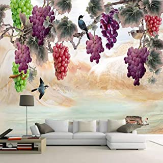 TIANXINBZ Custom Mural Wallpaper 3D Hand-Painted Grape Branch Photo Wall Paper Living Room Tv Sofa Background Wall Paintin...