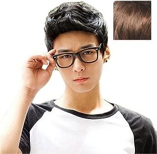 BERON New Fashion Cool Man Boys Short Wig with Wig Cap (Light Brown)