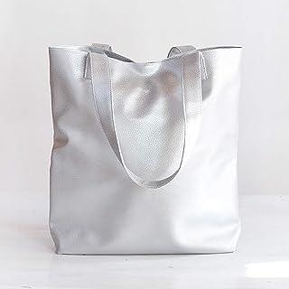 Borsa Argentata Grande Fatta a Mano in Pelle UP, Shopper Bag Argento, Shopping Bag Argento, Borsa Metallizzata Donna, Tote...