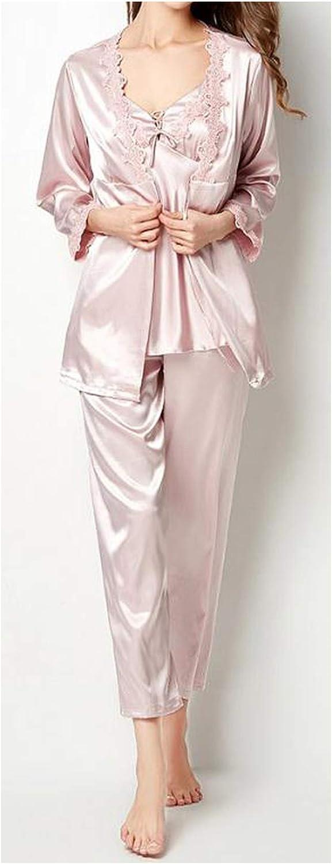 Shushiye Pyjamas Sets Female Sleepwear Long Sleeve Silk Pajamas Suit Ladies Silky Bathrobe Women