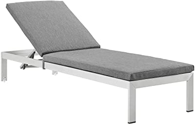 Modway EEI-4502-SLV-GRY Shore Outdoor Patio Aluminum Chaise with Cushions, Silver Gray