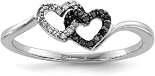 925 Sterling Silver Black White Diamond Heart Band Ring S/love Fine Jewelry For Women Gift Set