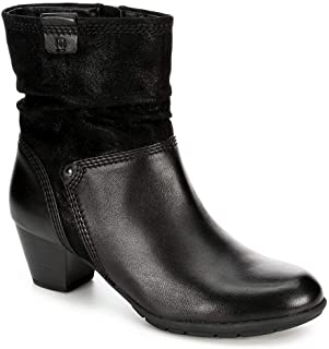 Womens Jil Heeled Zip Up Slouch Ankle Boot Shoes