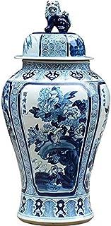 Floreros de Adornos Boutiques de Estilo león de la Vendimia con la Tapa de cerámica Pintado a Mano Azul y Blanco de Porcel...