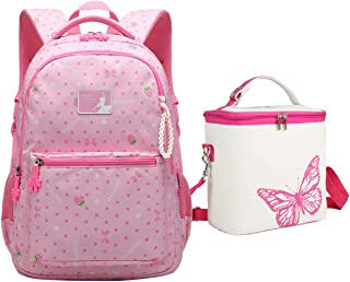 Tonlen Girls Heavy Duty Backpack Kids School Book Bag and Lunch Bag, 1967_Pink (Pink) - 1967_Pink